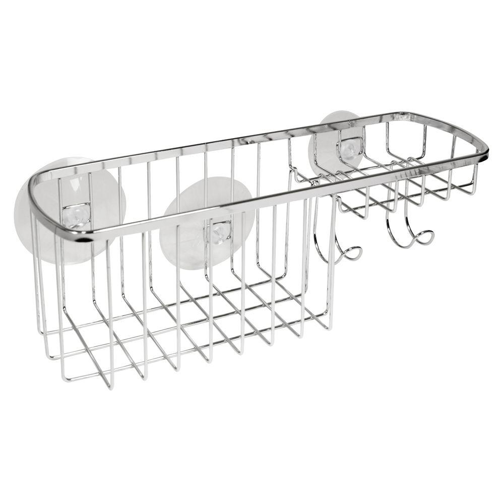 interDesign Suction Combo Shower Basket in Chrome-57302 - The Home Depot