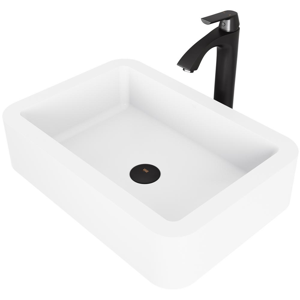 vigo petunia matte stone vessel bathroom sink set with linus vessel rh homedepot com bathroom sink stand bathroom sink stopper
