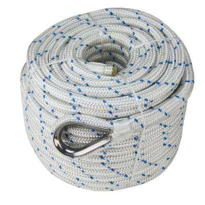 BoatTector 5/8 in. x 300 ft. Double Braid Nylon Anchor Line with Thimble in White with Blue Tracer