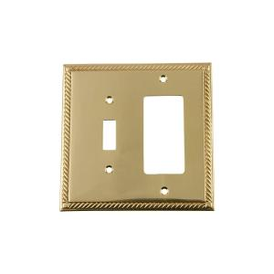 Nostalgic Warehouse Rope Switch Plate with Toggle and Rocker in Polished Brass by Nostalgic Warehouse