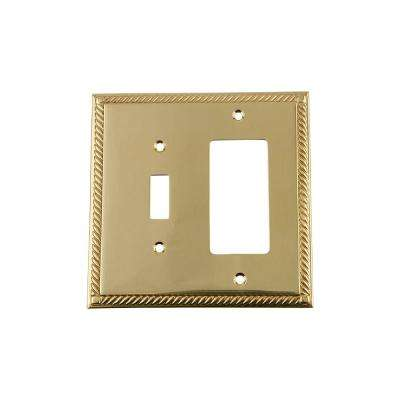 Rope Switch Plate with Toggle and Rocker in Polished Brass
