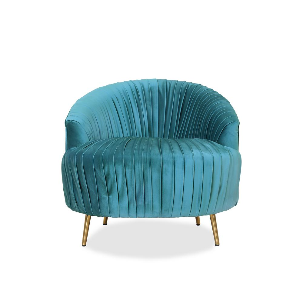 Handy Living Juliette Contemporary Ruched Barrel Chair In Turquoise Velvet
