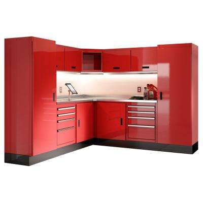 75 in. H x 168 in. W x 22 in. D Aluminum Worktop Cabinet Set with Stainless Steel Worktop in Red (12-Piece)