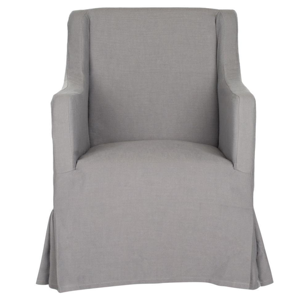 Sandra Arctic Gray/Java Cotton Blend Arm Chair