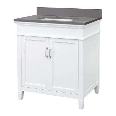 Ashburn 31 in. W x 22 in. D Vanity Cabinet in White with Engineered Marble Vanity Top in Slate Grey with White Basin