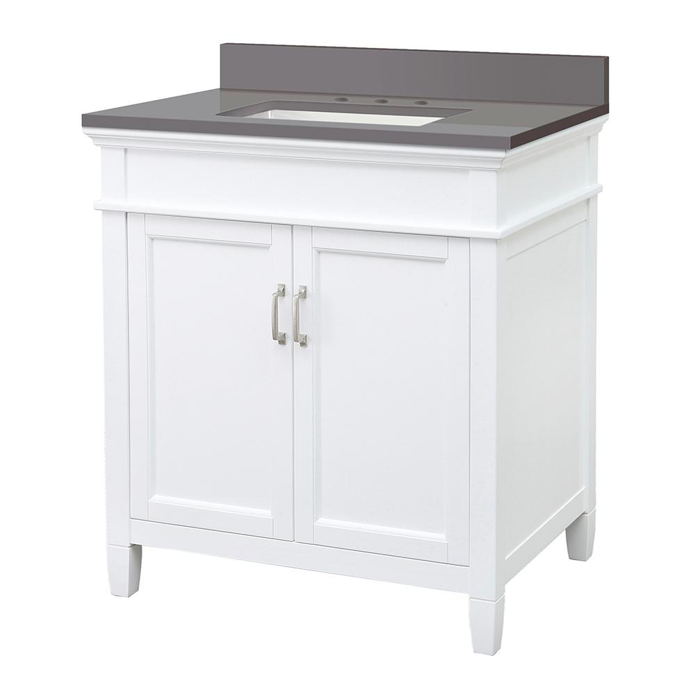 Home Decorators Collection Ashburn 31 in. W x 22 in. D Vanity Cabinet in White with Engineered Marble Vanity Top in Slate Grey with White Basin was $649.0 now $454.3 (30.0% off)