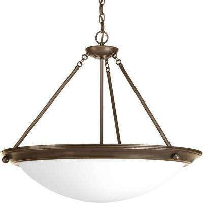 Eclipse 4-Light Antique Bronze Foyer Pendant with Satin White Glass