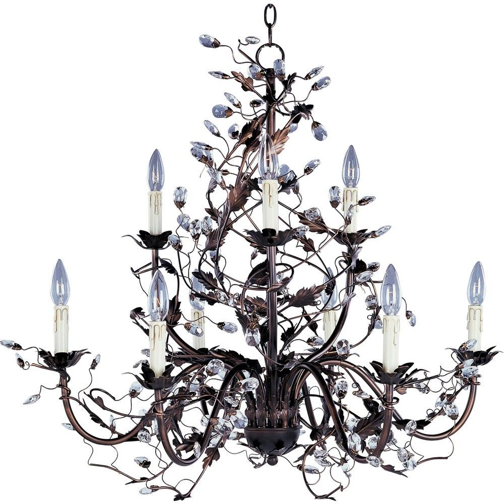 Maxim Lighting Elegante Light OilRubbed Bronze ChandelierOI - Chandelier leaves crystals