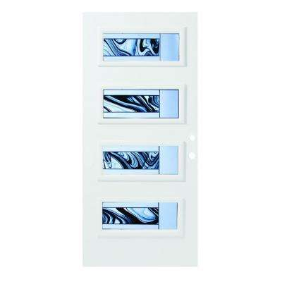 36 in. x 80 in. Rosemary 4 Lite Painted White Left-Hand Inswing Steel Prehung Front Door