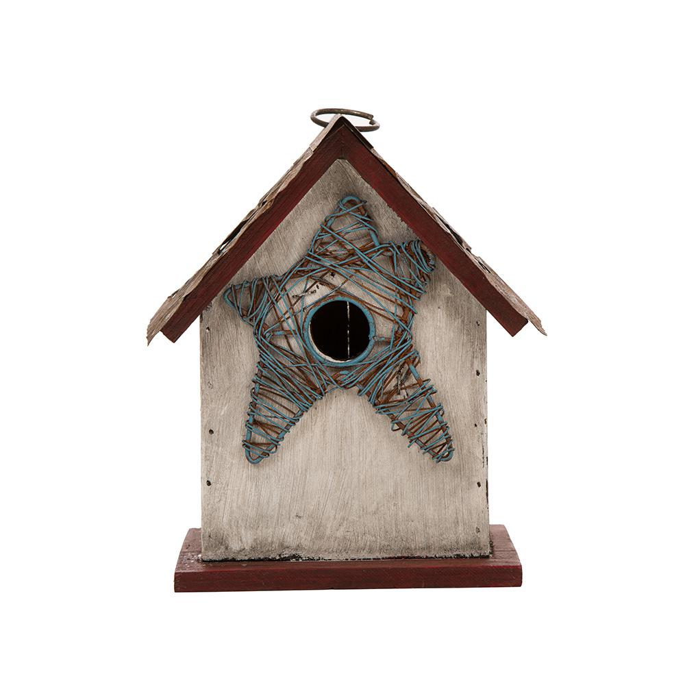 8.46 in. H Distressed Solid Wood Birdhouse with Star