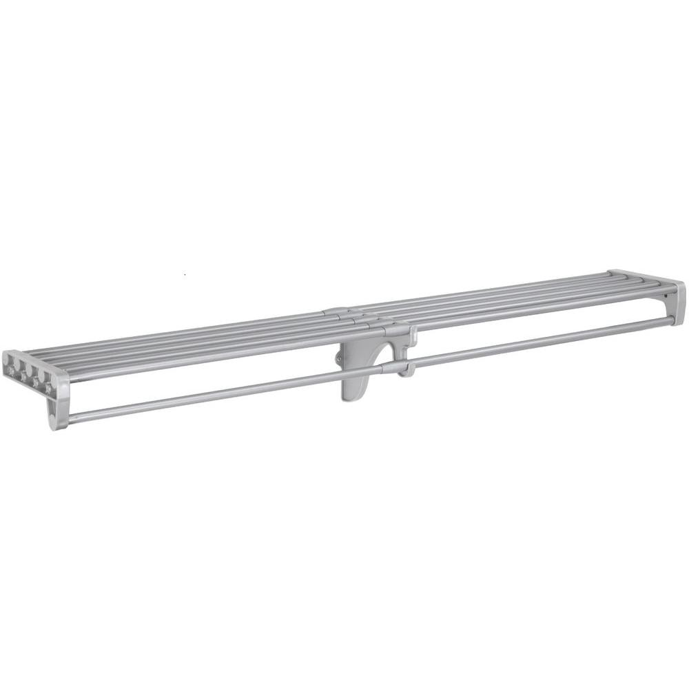 EZ Shelf 40 in. - 73 in. Expandable Closet Rod and Shelf in Silver (for mounting to 2 side walls - no end brackets included)