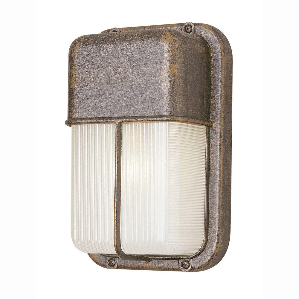 Bel Air Lighting Bulkhead 1-Light Outdoor Rust Wall or Ceiling Fixture with Clear Polycarbonate Shade