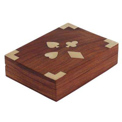 Brown Handcrafted Wooden Jewelry Box with Brass Inlay