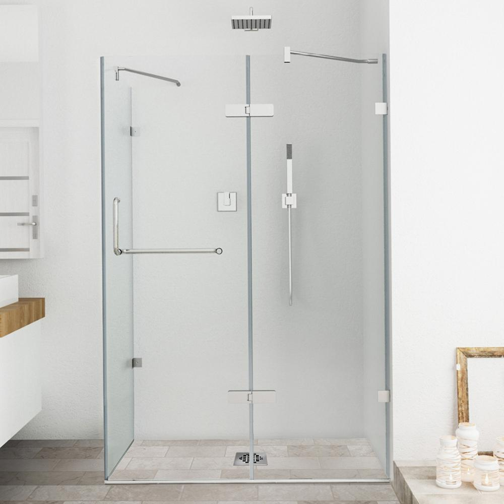 frameless pivot shower enclosure in chrome with clear the home depot