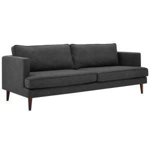 Agile 86.5 in. Gray Polyester 4-Seater Tuxedo Sofa with Square Arms