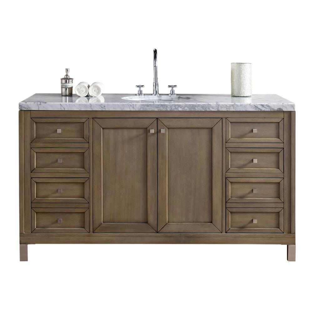 Bon James Martin Signature Vanities Chicago 60 In. W Single Vanity In  Whitewashed Walnut With Marble