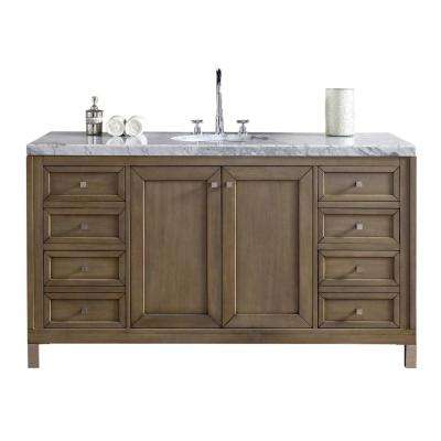 Chicago 60 in. W Single Vanity in Whitewashed Walnut with Marble Vanity Top in Carrara White with White Basin