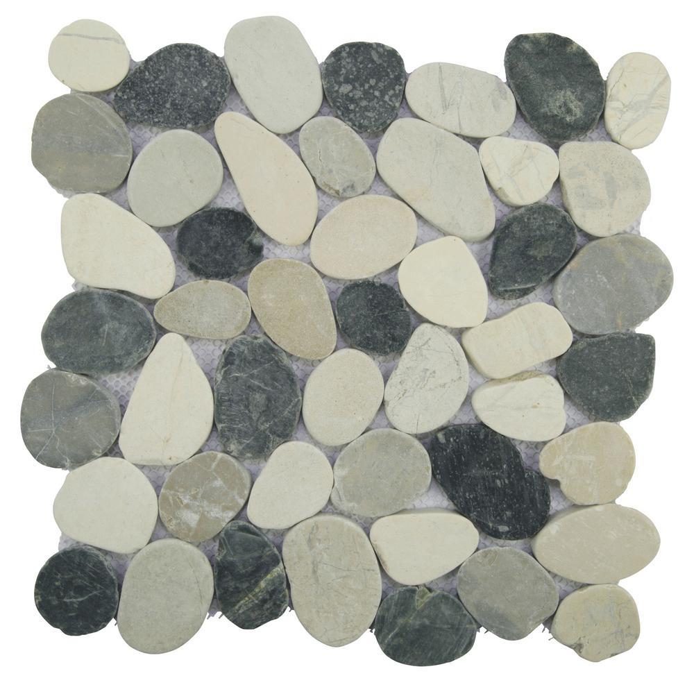 Sliced Pebble Tile Grey/Black/White 11.5 in. x 11.5 in. x 9.5mm Honed Pebble Mosaic Tile (10.098 sq. ft. / case)