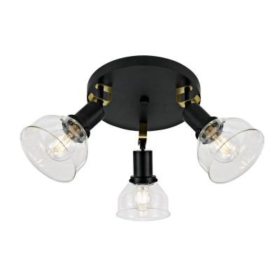 Maisie 0.8 ft. 3-Light Canopy Matte Black and Antique Brass Details Track Lighting Kit