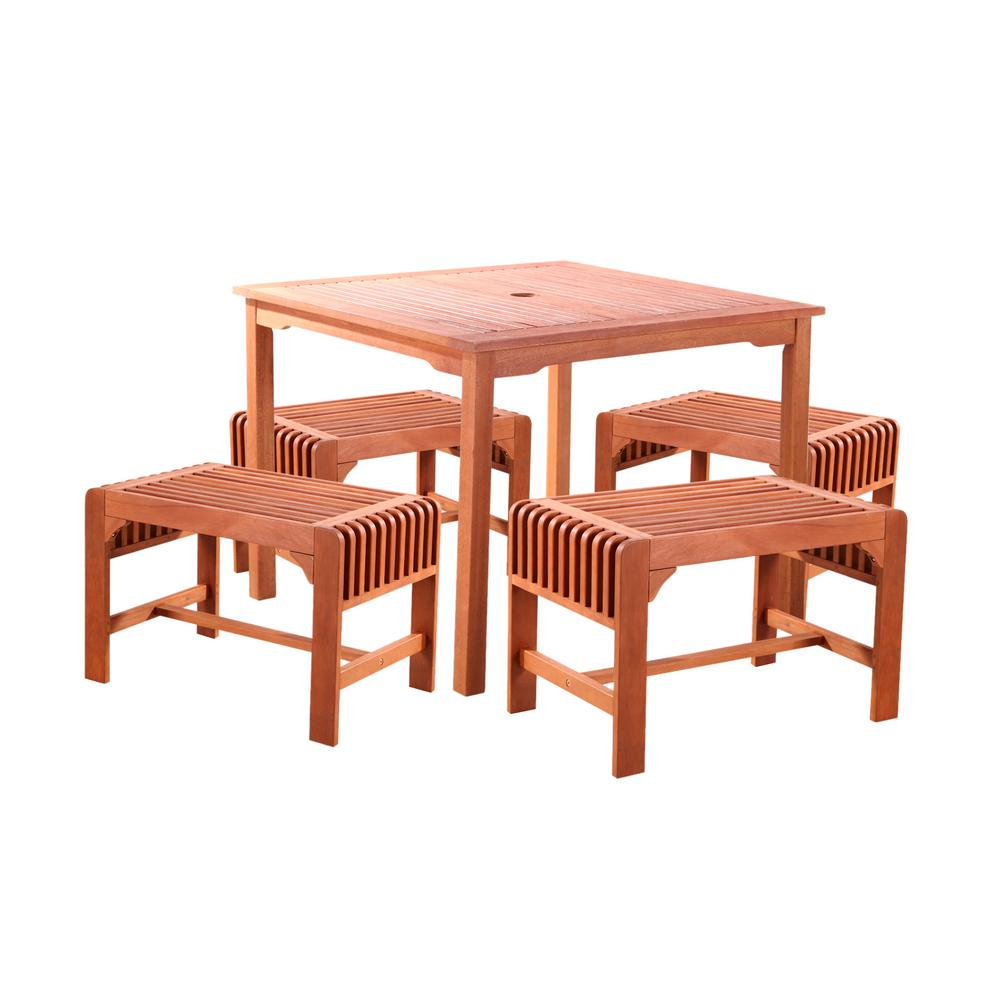 Giardino Collection Outdoor Dining: Vifah Malibu 5-Piece Wood Square Outdoor Dining Set