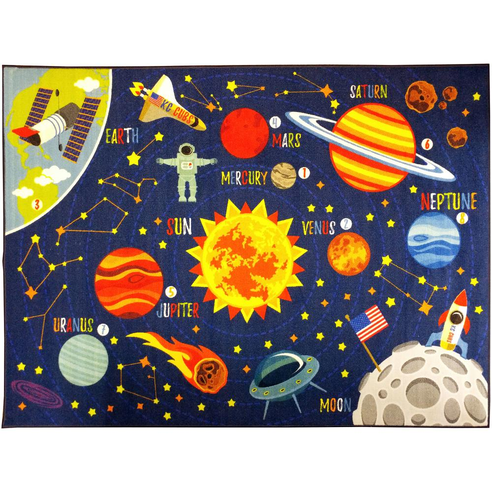 KC CUBS Multi-Color Kids and Children Bedroom Space Safari Road Map Educational Learning 8 ft. x 10 ft. Area Rug