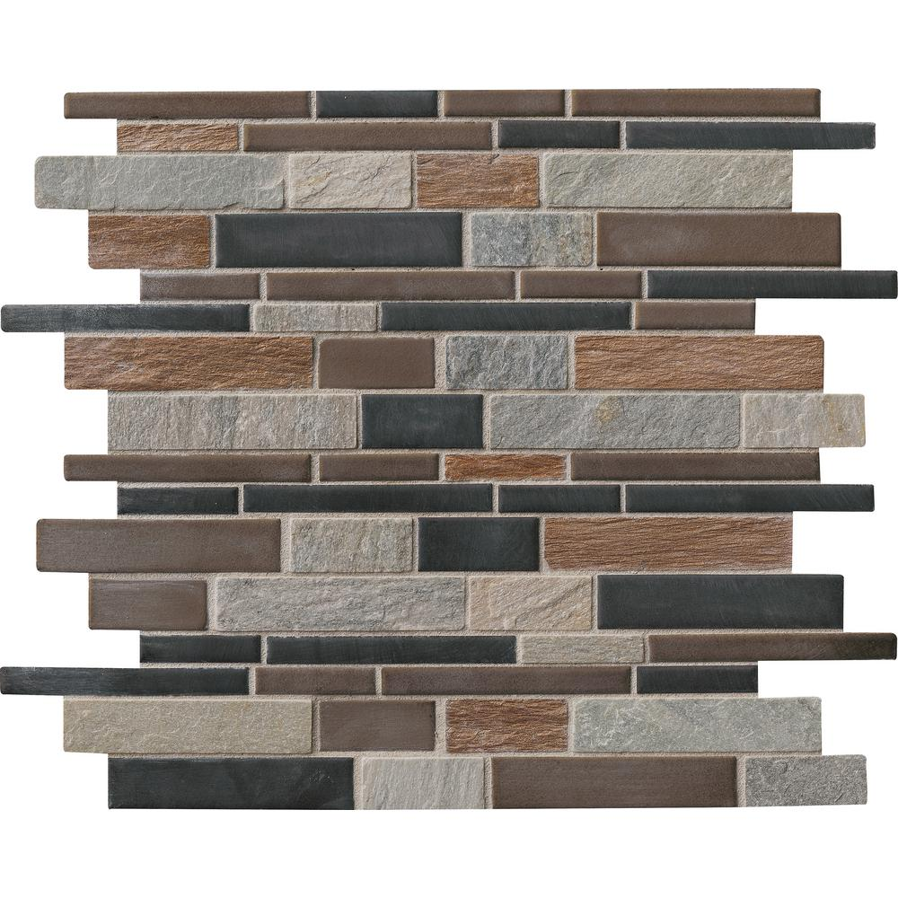 MSI Cobrello Interlocking 12 in. x 12 in. x 8mm Porcelain and Stone Mesh-Mounted Mosaic Floor and Wall Tile