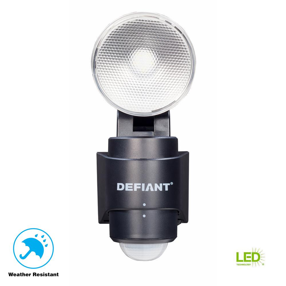 Defiant 180 Degree 1-Head Black LED Motion Sensing Battery