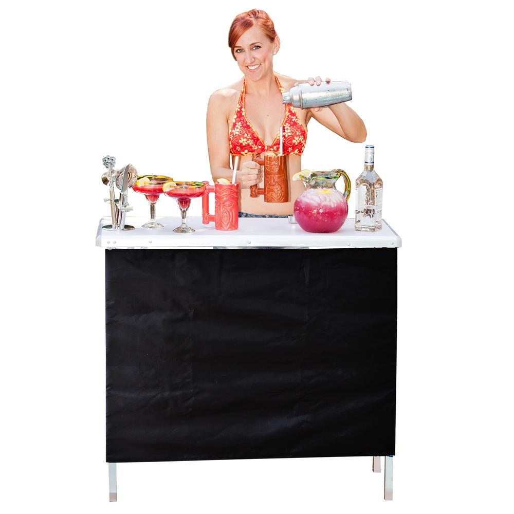 Aluminum Indoor Outdoor Patio Portable High Top Serving Bar with 3-Front