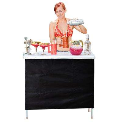 Aluminum Indoor Outdoor Patio Portable High Top Serving Bar with 3-Front Skirts and Carrying Case