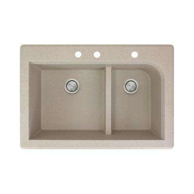 Radius Drop-in Granite 33 in. 3-Hole 1-3/4 J-Shape Double Bowl Kitchen Sink in Cafe Latte