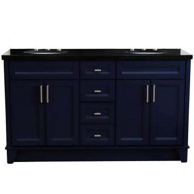 61 in. W x 22 in. D Double Bath Vanity in Blue with Granite Vanity Top in Black Galaxy with White Oval Basins