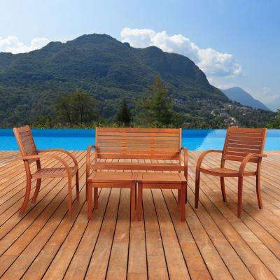 Pacifica 5-Piece Eucalyptus Patio Seating Set
