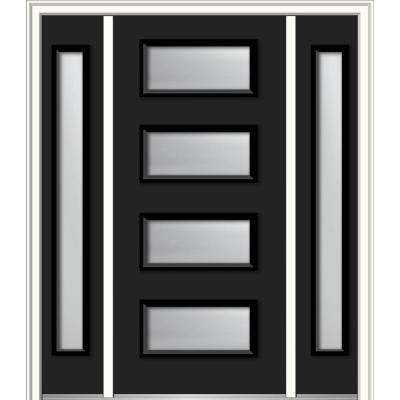 64 in. x 80 in. Celeste Left-Hand Inswing 4-Lite Frosted Modern Painted Steel Prehung Front Door with Sidelites