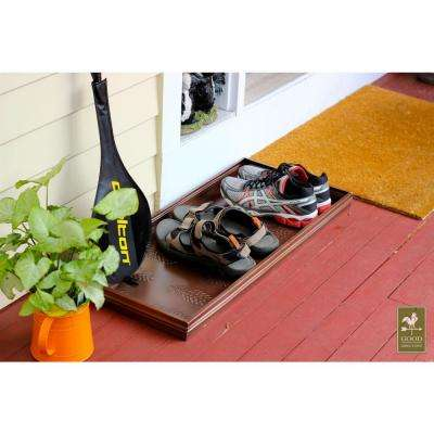 34.5 in. x 14.5 in. Pine Cones Multi-Purpose Copper Finish Boot Tray for Boots, Shoes, Plants, Pet Bowls, and More