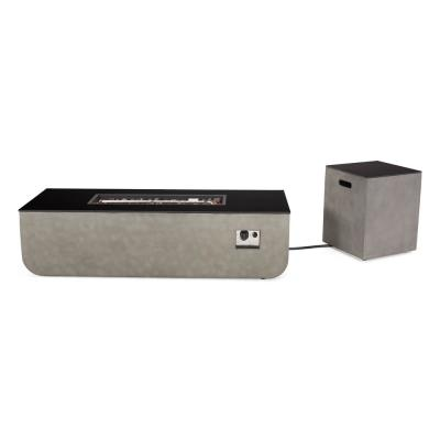 Adio 16 in. x 20 in. Rectangular Concrete Propane Fire Pit in Light Grey with Tank Holder