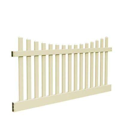 Kettle Scallop 4 ft. H x 8 ft. W Sand Vinyl Un-Assembled Fence Panel