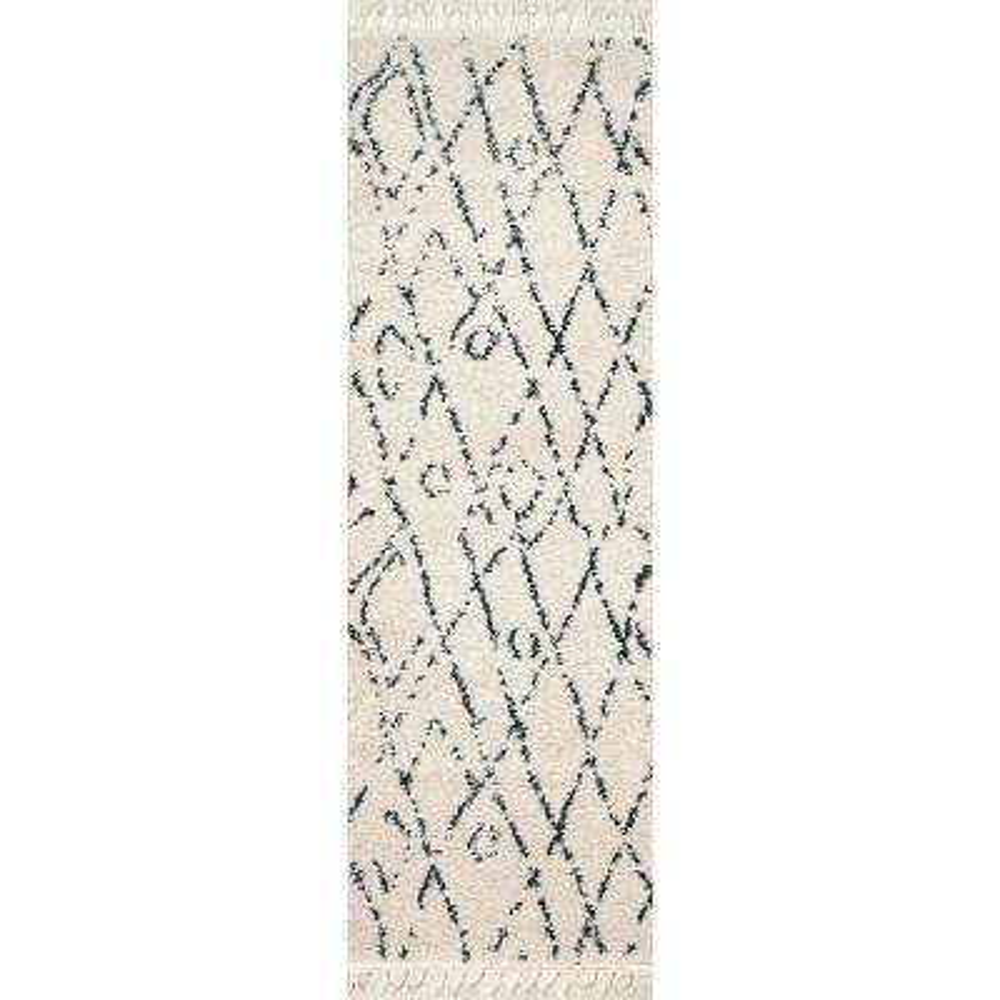 Nieves Moroccan Diamond Tassel Off White 2 ft. 8 in. x 8 ft. Runner Rug