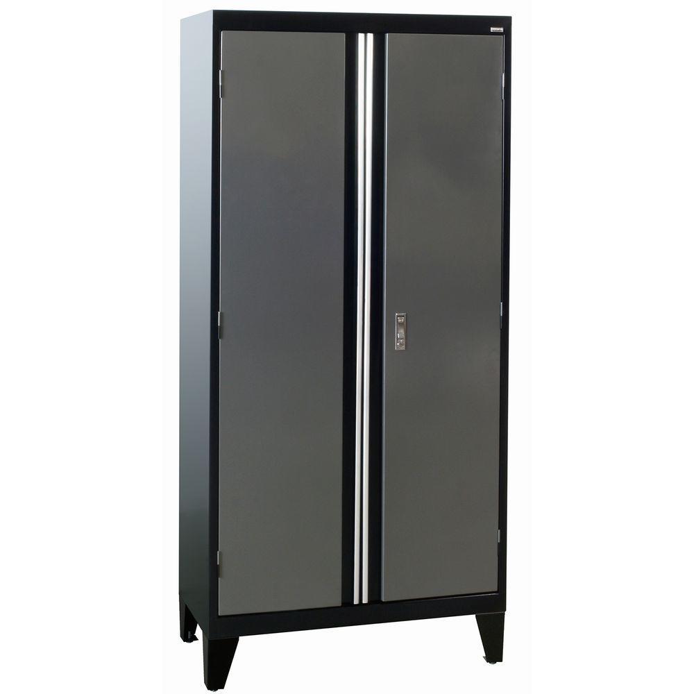 H Modular Steel 2 Door Cabinet Full Pull In Black Charcoal