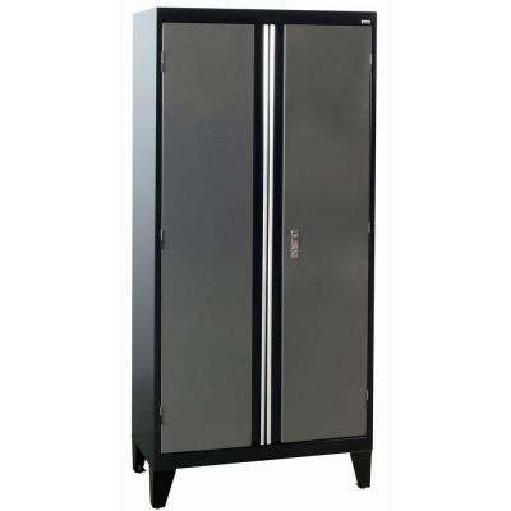 36 in. W x 18 in. D x 79 in. H Modular Steel 2-Door Cabinet, Full Pull in Black/Charcoal