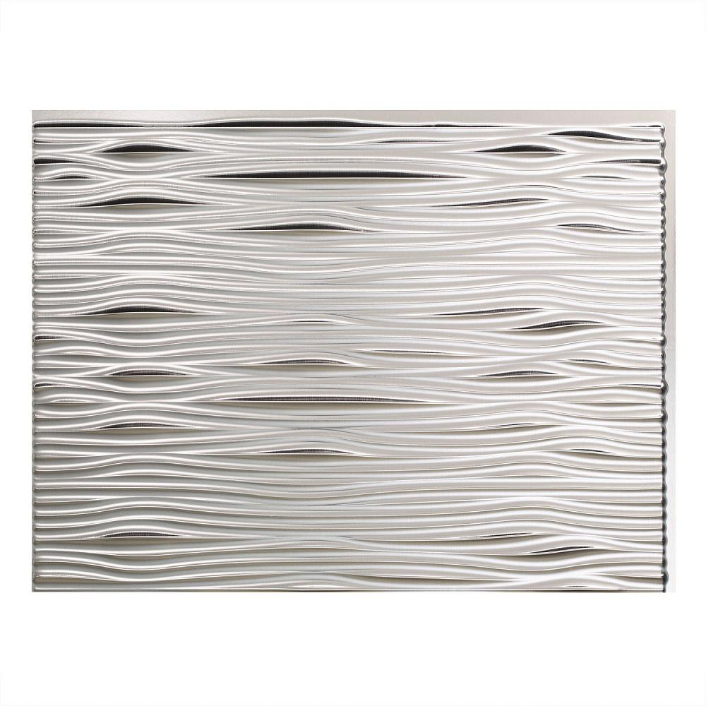 Fasade 24 in x 18 in waves pvc decorative tile backsplash in waves pvc decorative tile backsplash in brushed aluminum b65 08 the home depot doublecrazyfo Images