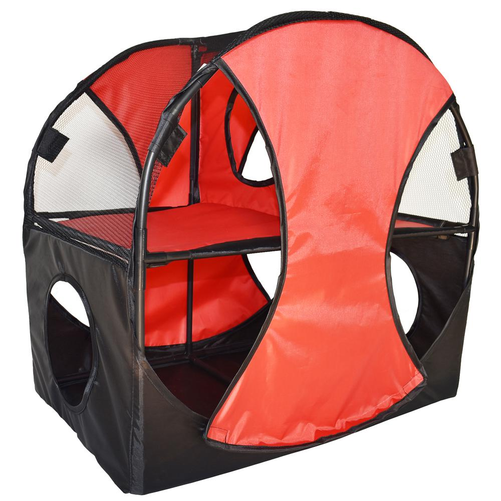 Red and Black Kitty-Play Obstacle Travel Collapsible Soft Folding Pet Cat