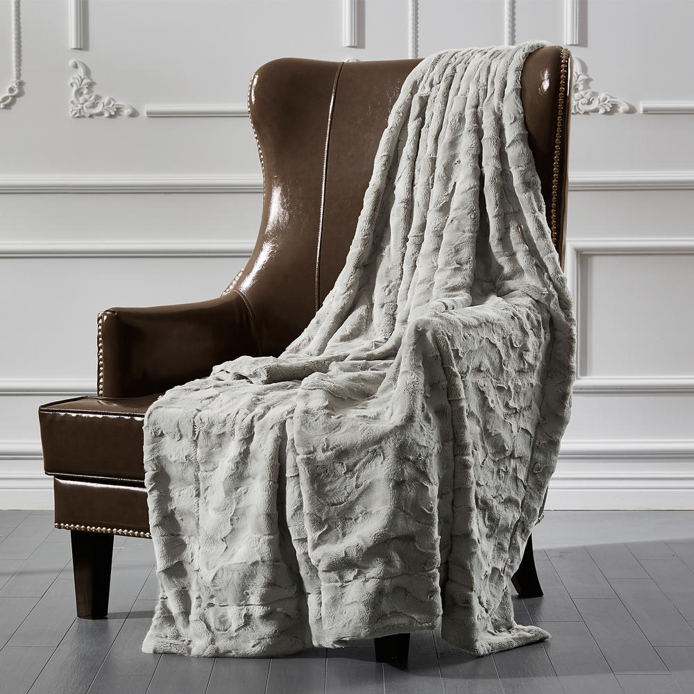 Sculpted Fur Grey Soft Ripple Faux Fur Throw