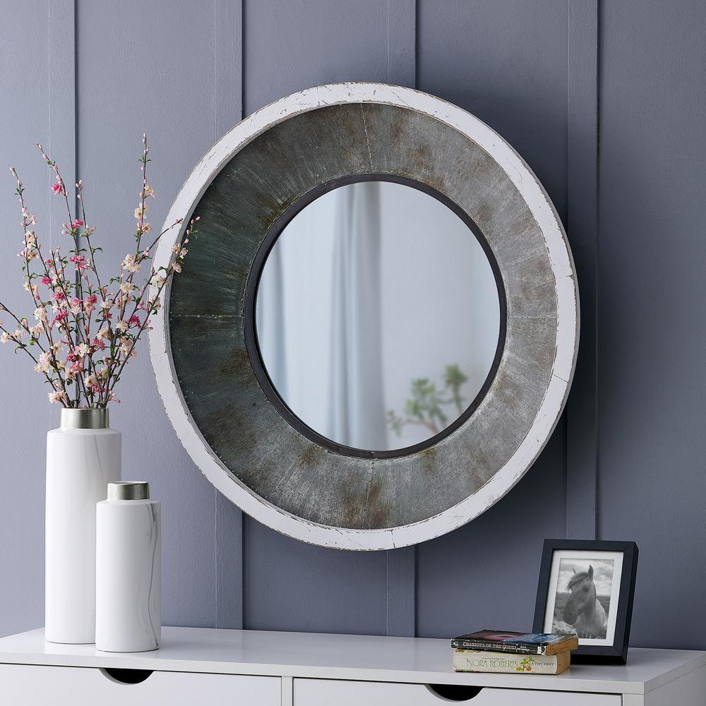 Medium Round Antique Silver White Metallic Gray Mirror (31.5 in. H x 31.5 in. W)