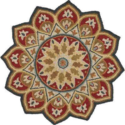 Sinuous Red 6 ft. x 6 ft. Tufted Bloom Flower Shape Area Rug