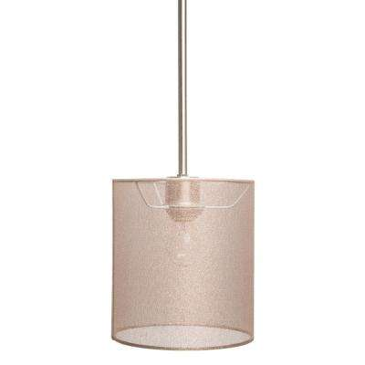 Lyell Forks Family 1-Light Satin Steel Mini Pendant with Lustrous Steel Fabric Shade