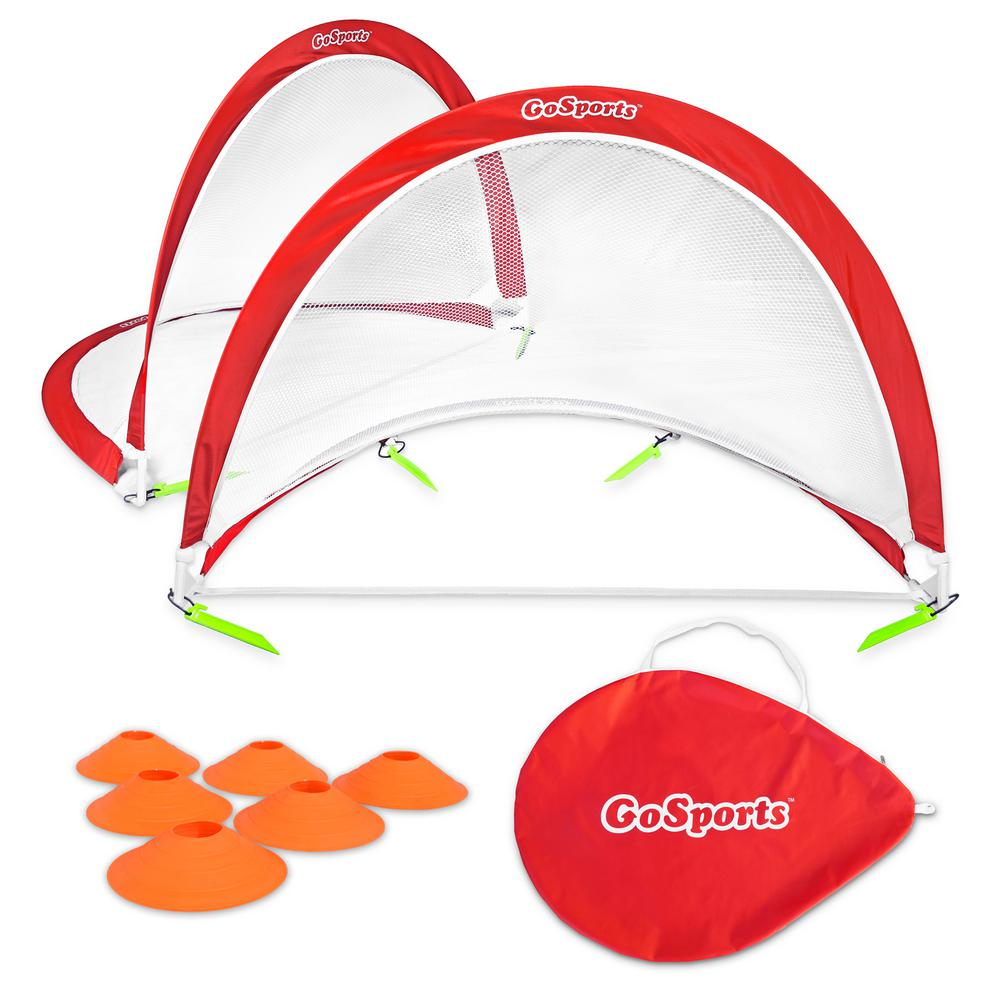 37292a513 Foldable Pop-Up Soccer Goals Set of 2 with Training Cones and Portable  Carry Case