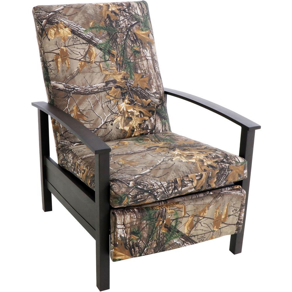 Cedar Ranch Metal Outdoor Recliner with Camo Cushions