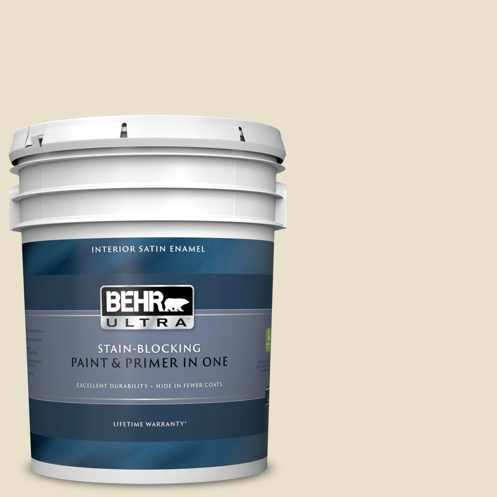 Behr Ultra 5 Gal Ecc 17 2 Dry Creek Satin Enamel Interior Paint And Primer In One 775005 The Home Depot