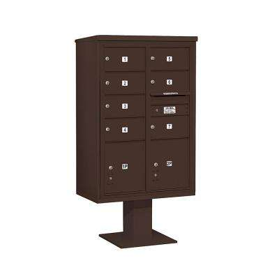 3400 Series Bronze Mount 4C Pedestal Mailbox with 7 MB2/2 PL5