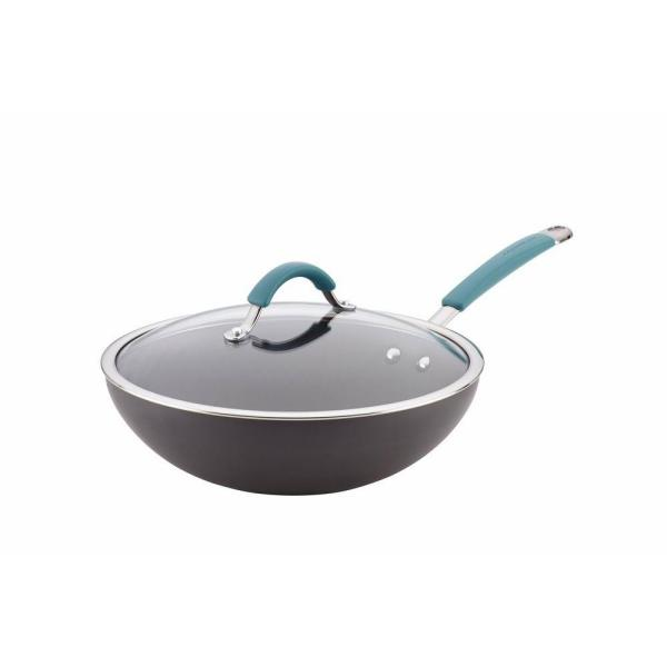 Rachael Ray Cucina Hard-Anodized Stir-Fry Pan with Lid 87644